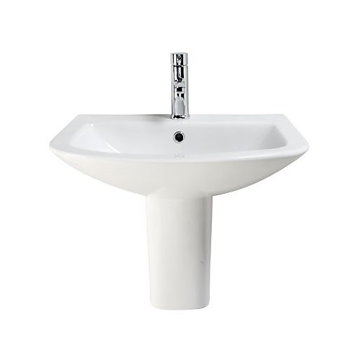 Wickes Inca Ceramic Basin With Semi Pedestal   550mm | Wickes.co.uk
