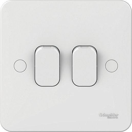 Lisse 2 Gang 2 Way Switch - White