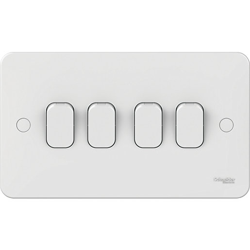 Lisse 4 Gang 2 Way Switch - White