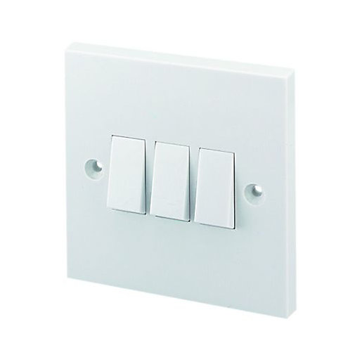Wickes 10A Light Switch 3 Gang 2 Way White | Wickes.co.uk