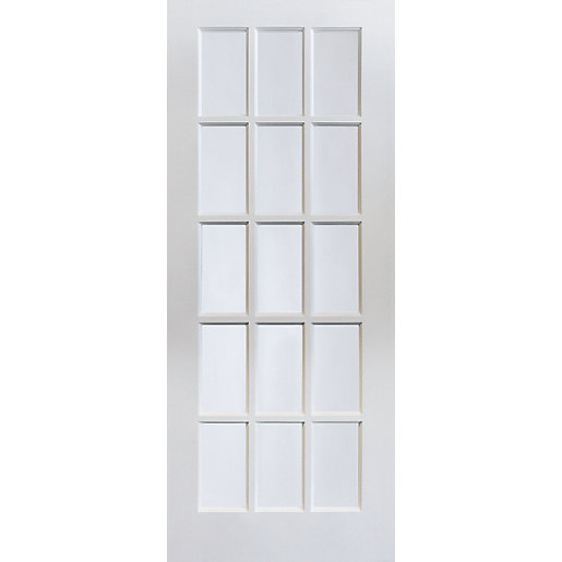 Jeld wen 15 lite clear glazed white mdf internal door - Pre painted white interior doors ...