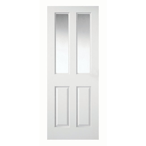 Wickes Stirling White Clear Glazed Grained Moulded 4 Panel Internal