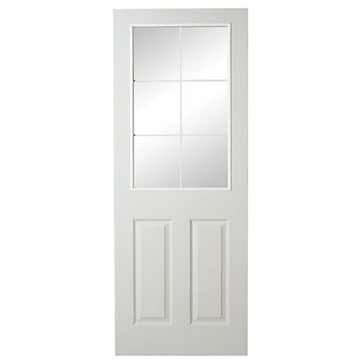 detailing 8b08f e2a56 Wickes White Glazed Grained Moulded 6 Lite Internal Door