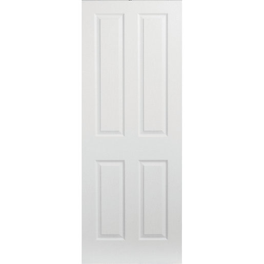 new arrival 5d7d8 958fd Wickes Stirling White Grained Moulded 4 Panel Internal Door - 2040 mm