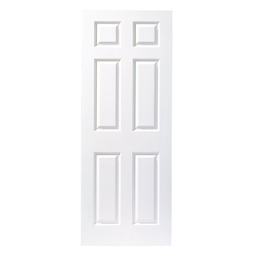 white door.  White Wickes Woburn Internal White Primed Grained 6 Panel Moulded Door  2032 X  813mm  Wickescouk With H