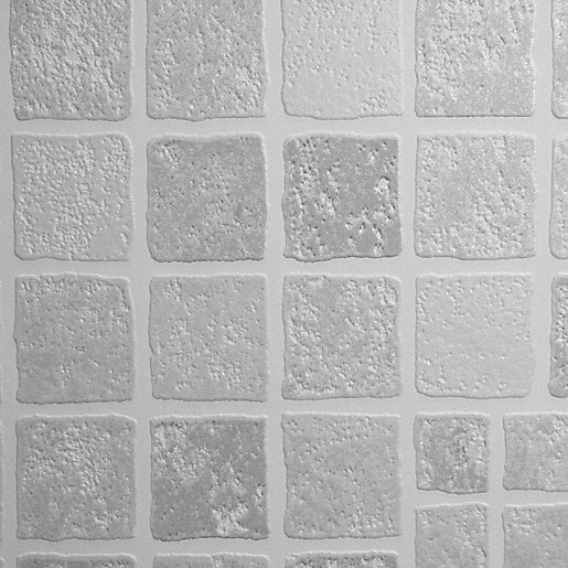 Graham Brown Contour Earthen Tile Effect Decorative Wallpaper Grey