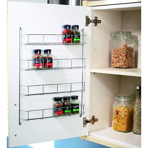 Kitchen Wardrobe Accessories: Wickes Chrome 4 Tier Spice Rack 500mm