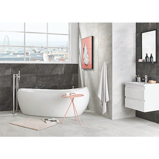 wickes bathroom wall tiles wickes amaro charcoal porcelain tile 615 x 308mm wickes 21662