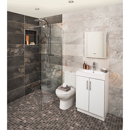 small bathroom grey tiles wickes aspen carbon grey porcelain tile 598 x 298mm 20465