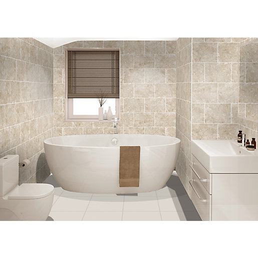 wickes bathroom tiles uk wickes avellino cappuccino beige ceramic tile 360 x 275mm 21660