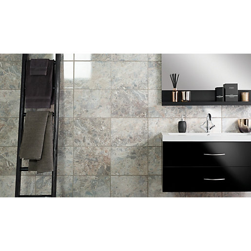 Grey Slate Kitchen Wall Tiles: Wickes Avellino Cappuccino Grey Ceramic Tile 360 X 275mm