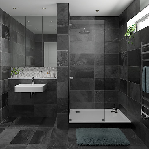 Dark Wood Tile Bathroom: Wickes Black Slate Effect Tile 670 X 333mm