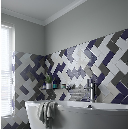 Wickes Cosmopolitan Dark Blue Ceramic Tile 200 x 100mm | Wickes.co.uk