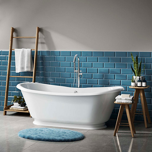 Turquoise Kitchen Wall Tiles: Wickes Metro Light Blue Ceramic Tile 200 X 100mm