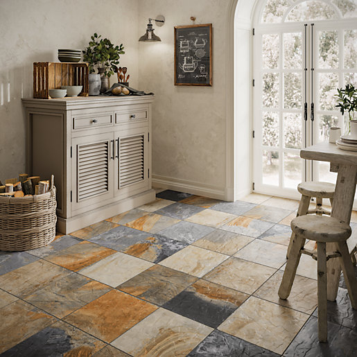Wickes Multicolour Slate Effect Tile 333 X 333mm Wickes
