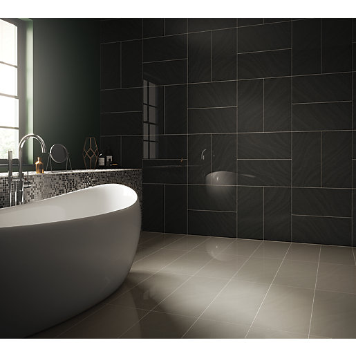 Wickes Norton Charcoal Porcelain Tile 600 X 300mm Wickes