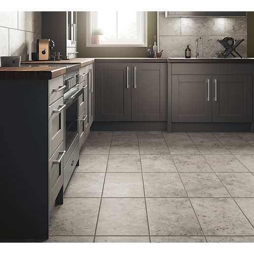 Wickes shale travertine grey ceramic tile 600 x 300mm for Pictures of floor tiles for kitchens