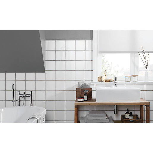 White Tile In Kitchen Floor: Wickes White Ceramic Wall Tile 150 X 150mm
