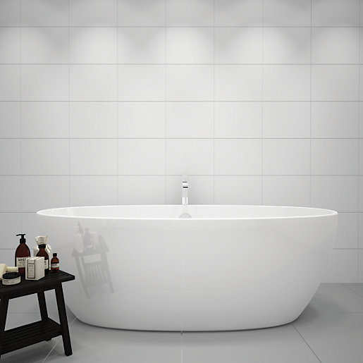 Wickes White Gloss Ceramic Tile 360 X 275mm Wickes Co Uk