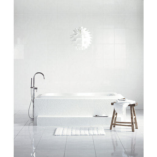 Wickes Flooring Offers: Wickes White Satin Ceramic Tile 360 X 275mm