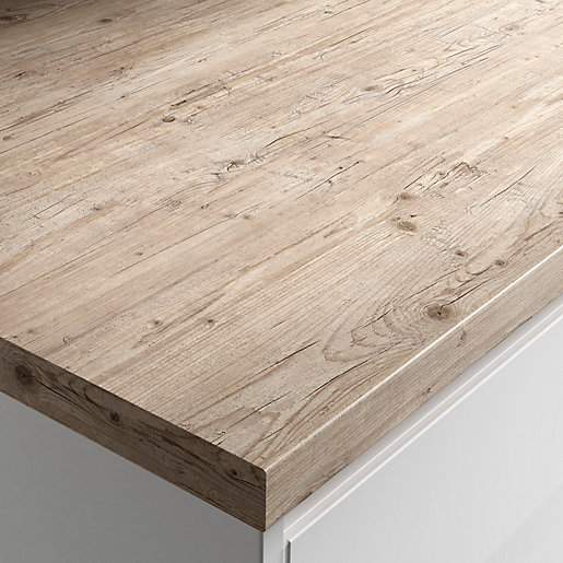 White Laminate Kitchen Worktops: Wickes Wood Effect Laminate Worktop - Light Rustic Timber 600mm X 38mm X 3m
