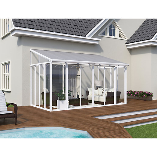 Palram San Remo Lean-To Conservatory White - 2950