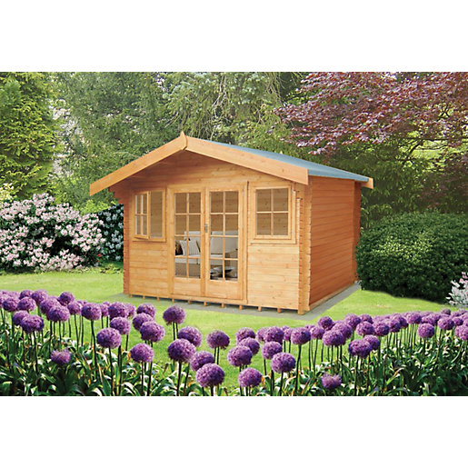 Shire 12 X 10 Ft Clipstone Double Door Log Cabin With