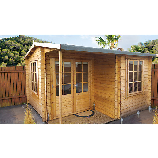 Shire Ringwood Double Door Log Cabin With Covered Porch