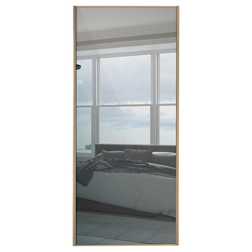 Wickes Sliding Wardrobe Door Wood Effect Framed Mirror Or