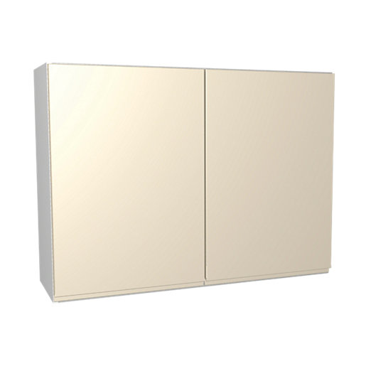 Wickes Madison Cream Gloss Handleless Wall Unit -