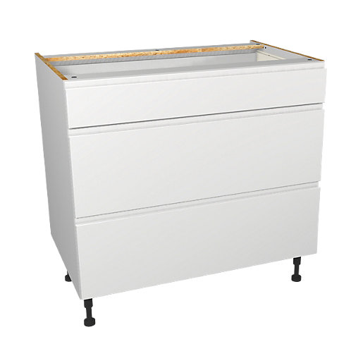 Wickes Madison White Gloss Handleless Drawer Unit -