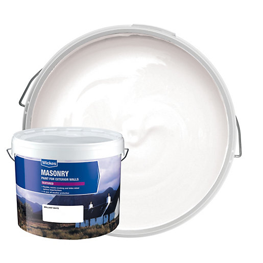 Wickes Textured Masonry Paint - Brilliant White 10L | Wickes.co.uk