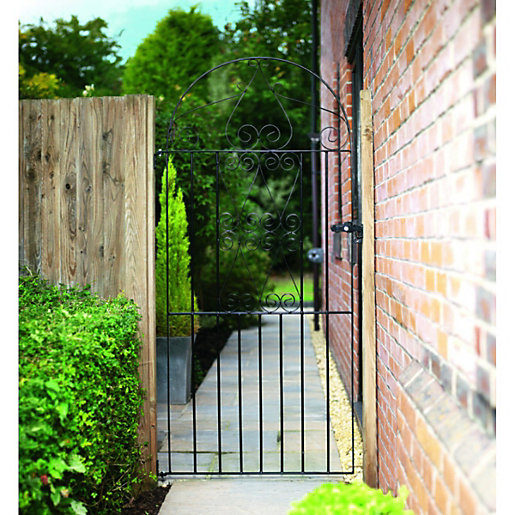 Wickes Chelsea Bow Top Steel Gate Black 838 X 1790 Mm
