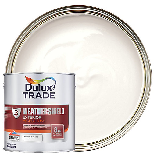 Dulux trade weathershield gloss paint pure brilliant - Weathershield exterior paint system ...