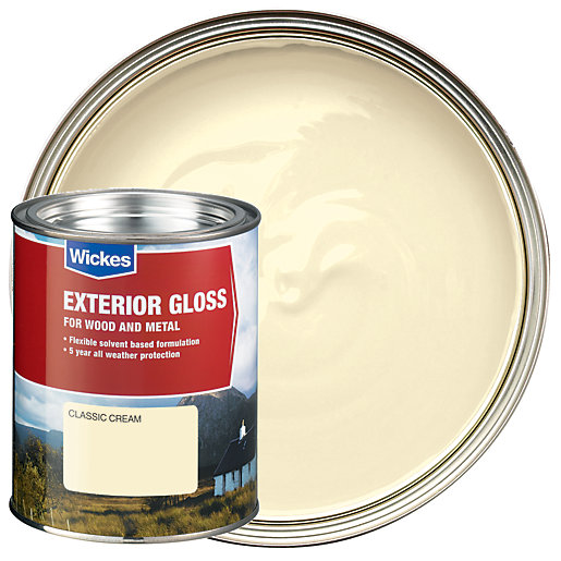 Wickes Exterior Gloss Paint - Classic Cream 750ml
