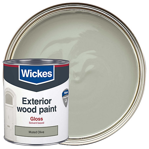 Wickes Exterior Gloss Paint Muted Olive 750ml Wickes