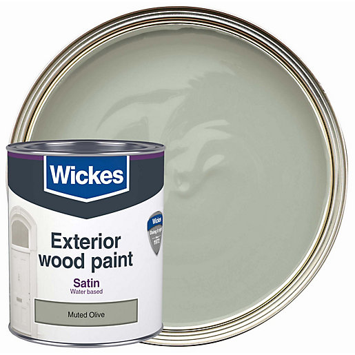 Wickes Exterior Satin Paint Muted Olive 750ml Wickes