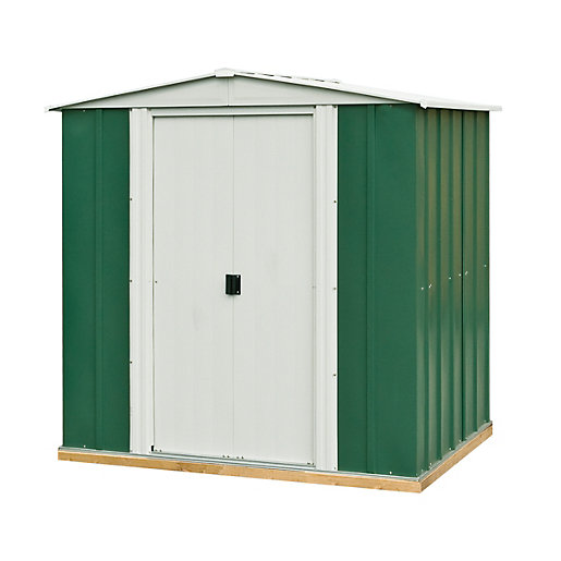 rowlinson double door metal apex shed including floor 6. Black Bedroom Furniture Sets. Home Design Ideas