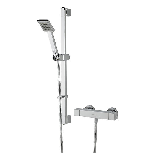 Bristan Quadrato Thermostatic Bar Shower Valve & Adjustable Riser ...