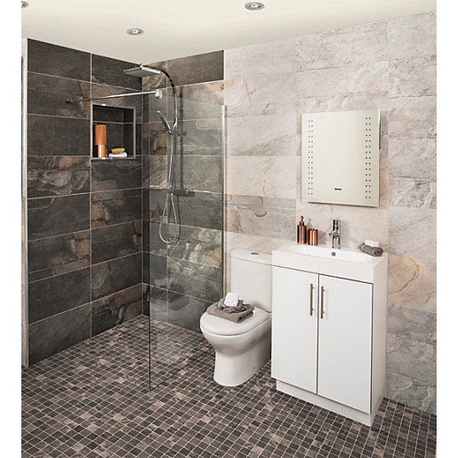travis perkins bathroom tiles wickes aspen carbon grey mosaic porcelain tile 300 x 21034