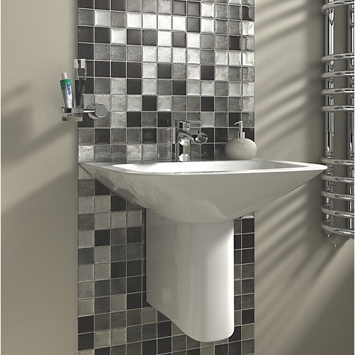 Wickes Black & Silver Leaf Glass Mosaic 300 X 300mm