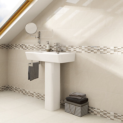 wickes bathroom tiles uk wickes delaware brick mosaic tile 305 x 305mm wickes co uk 21660