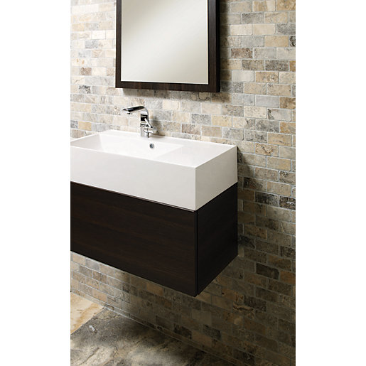 Wickes Silver Grey Travertine Brick Mosaic 305 X 305mm Wickescouk
