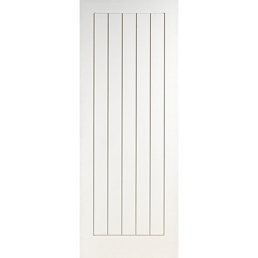 Wickes geneva internal cottage smooth white primed 5 panel for Door viewer wickes