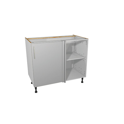 Wickes Orlando Grey Gloss Slab Corner Base Unit
