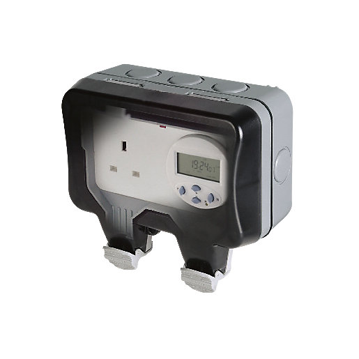 Masterplug 13a Weatherproof Single Exterior Switched Timer