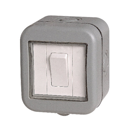 Outdoor switches sockets switches sockets wickes masterplug ip55 10a single exterior 2 way switch grey aloadofball Choice Image