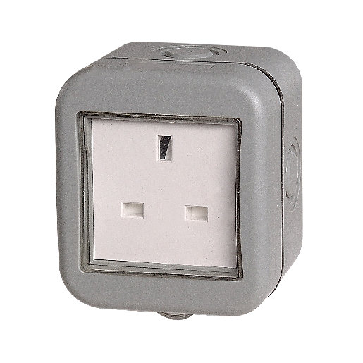 Masterplug IP55 13A Single Exterior Unswitched Socket -