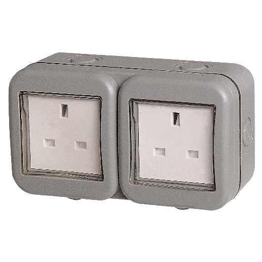 Masterplug IP55 13A Twin Exterior Unswitched Socket -