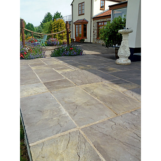 Marshalls Heritage Riven Old Yorkstone 300 X 300 X 38mm Paving Slab   Pack  Of 44 | Wickes.co.uk